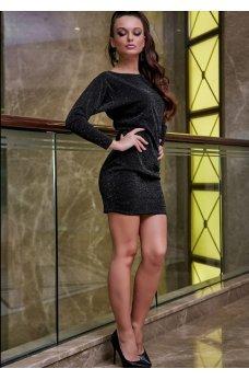 Новогоднее платье черного цвета с люрексовой нитью