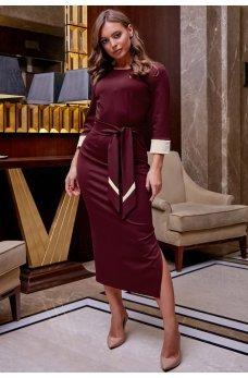 Платье карандаш бордового цвета с поясом