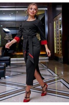 Платье карандаш черного цвета с поясом