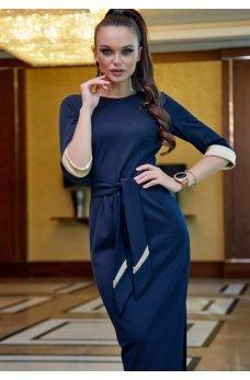Платье карандаш синего цвета с поясом
