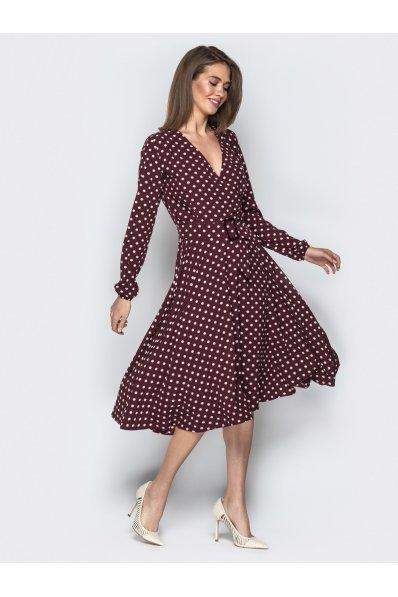 Платье миди в горох цвета марсала