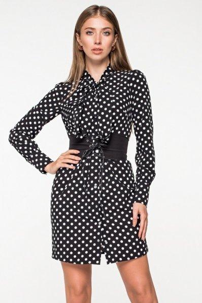 Платье рубашка в белый горох на черном фоне