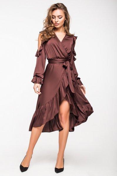 Нарядное коричневое платье на запАх