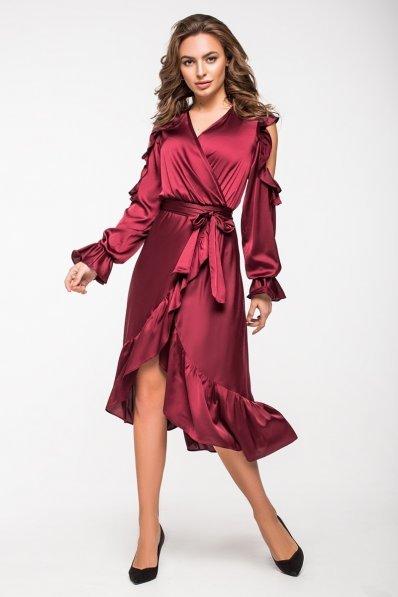 Нарядное платье на запАх цвета марсала