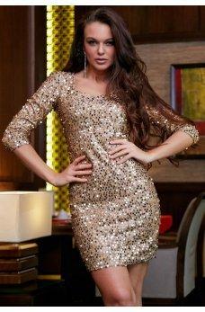 Шикарное золотое платье для вечеринки