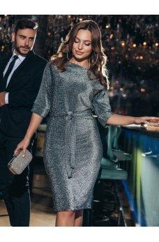 Сияющее платье из люрекса с цельнокроеным рукавом