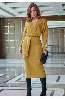 Соблазнительное платье горчичного цвета