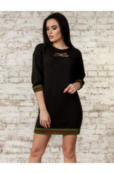 Теплое платье-туника черного цвета
