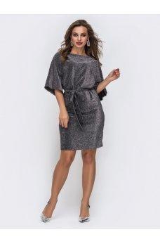 Яркое серое платье из мерцающего люрекса с рукавом «летучая мышь»