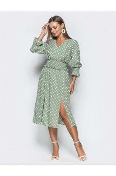 Зеленое платье в горошек