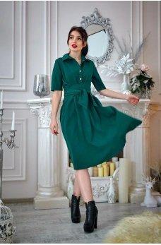 Зеленое платье с пышной юбкой  и поясом