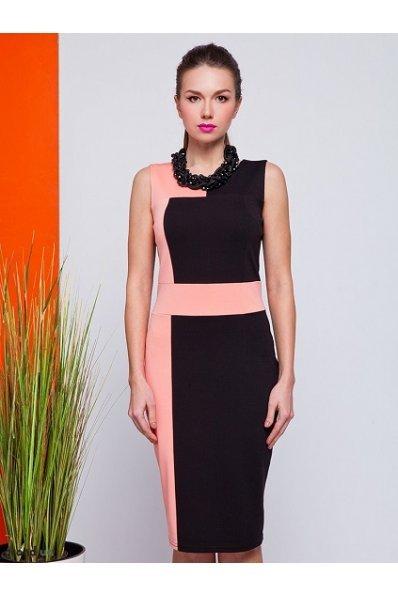 Платье футляр розовое с черным