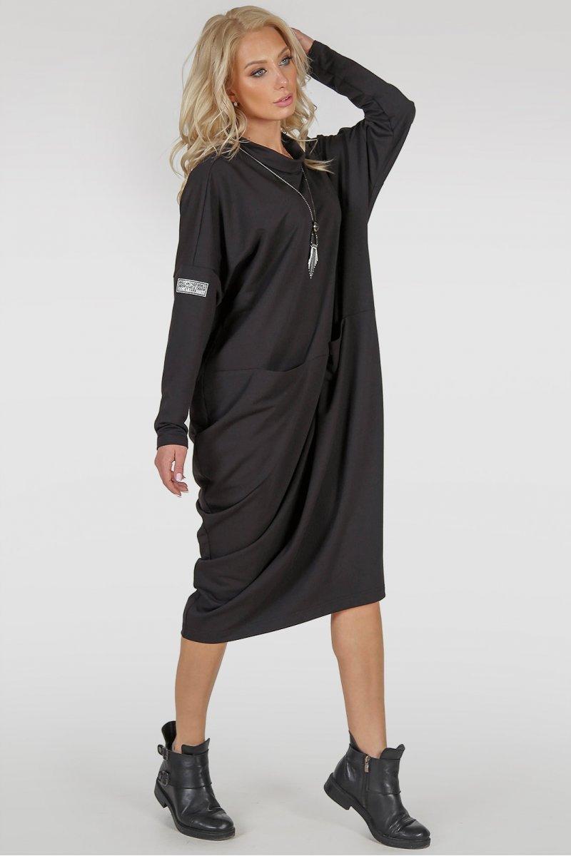 bd61ff22084 Черное платье оверсайз ассиметричного покроя