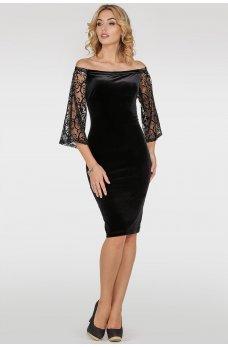 Черное коктейльное платье из бархата с открытыми плечиками