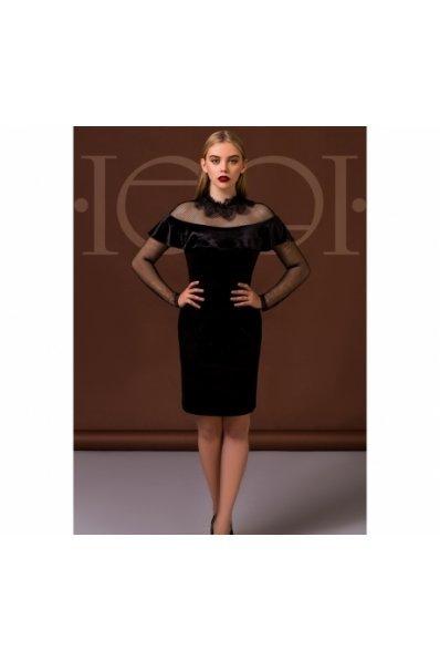 Эффектное черное платье из бархата и сетки