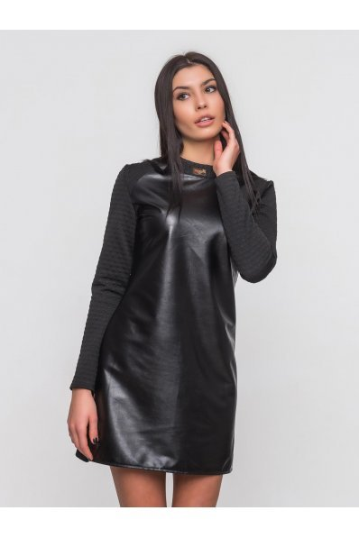Черное кожаное платье комбинированное