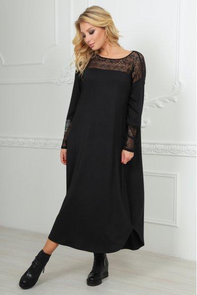 Черное платье оверсайз с гипюром