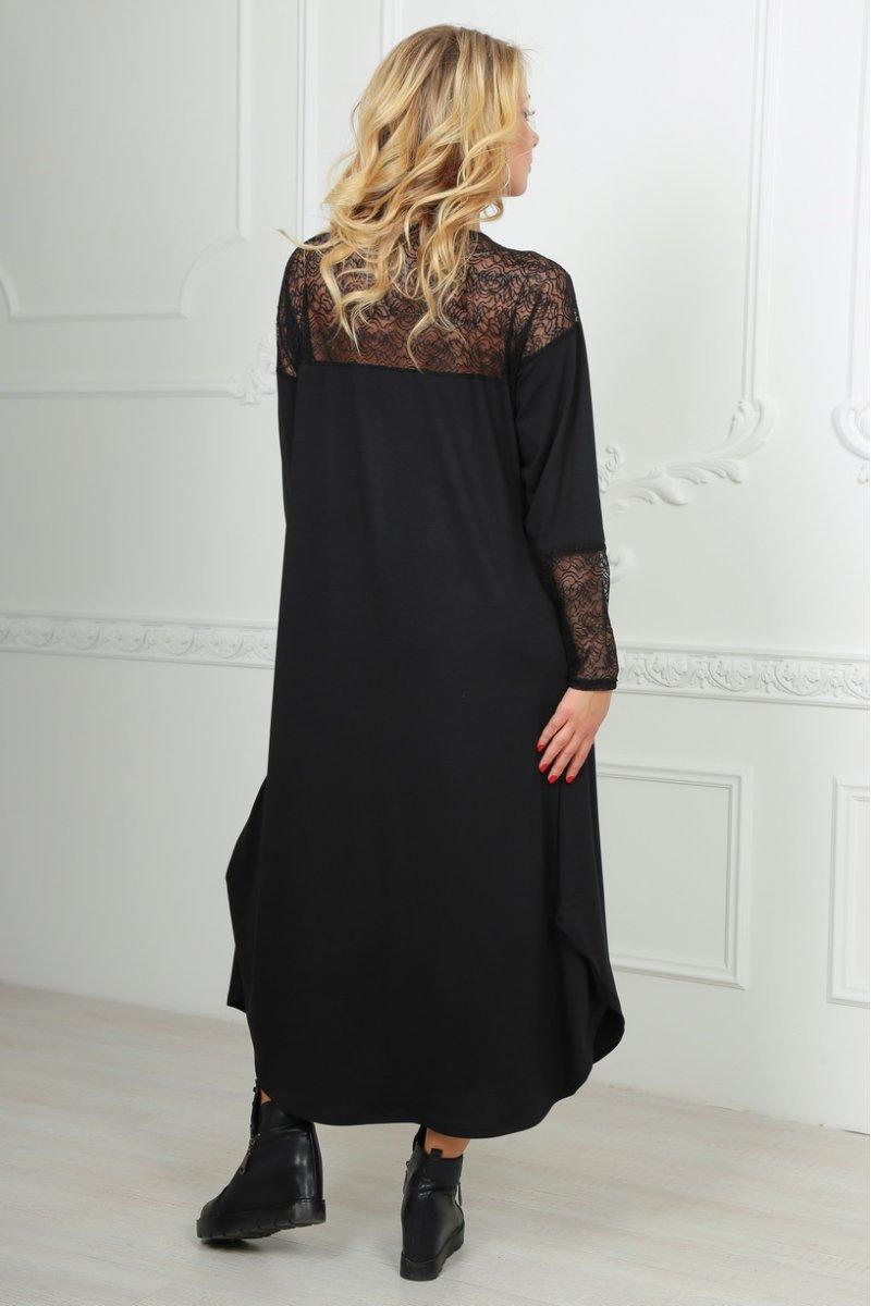 75c2ec43693 Черное платье оверсайз с гипюром