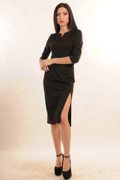 Черное платье с разрезом