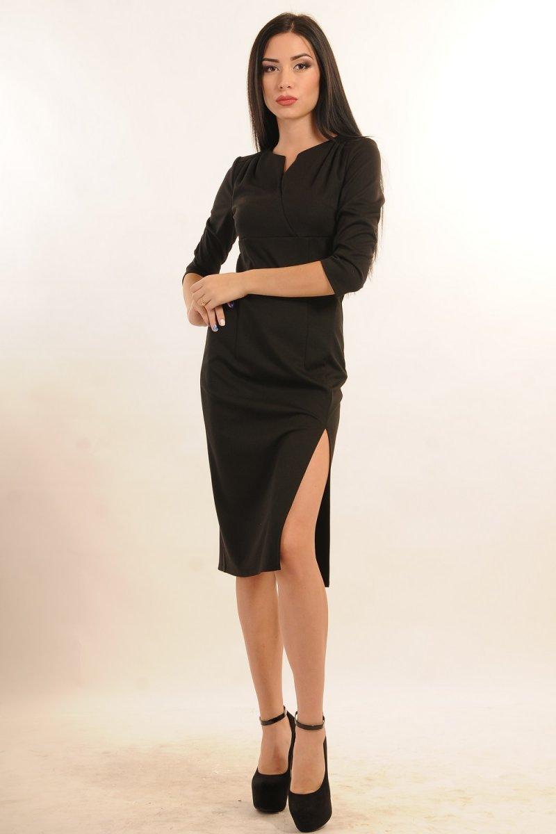 e6a6539b9123b86 Купить платье - Черное платье с разрезом