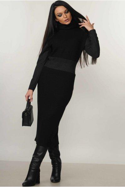 Теплое черное платье со вставкой из замши