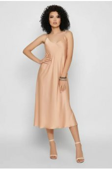 Бежевое нежное платье миди