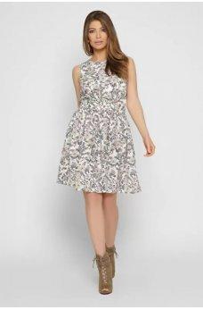 Молочное легкое платье с принтом