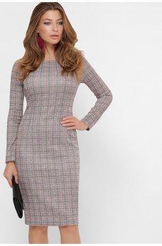 Серо-пудровое привлекательное платье-футляр