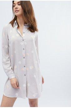 Серо-розовое привлекательное платье-рубашка