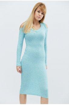 Бирюзовое нежное трикотажное платье футляр