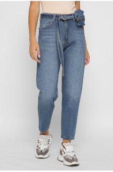 Синие женские джинсы-мом