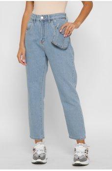 Голубые стильные джинсы-мом
