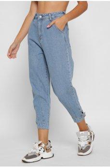 Голубые модные джинсы-баллоны