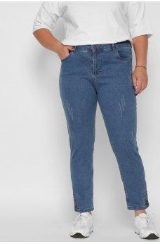 Голубые оригинальные джинсы с потертостями
