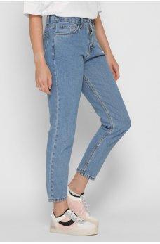 Голубые практичные джинсы-мом