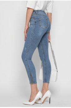 Голубые молодежные джинсы-скинни