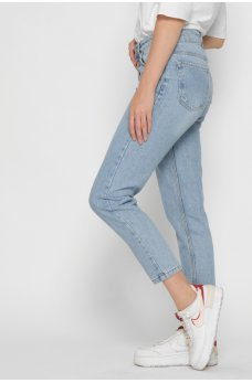 Голубые повседневные джинсы-мом