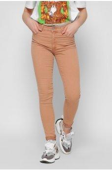 Персиковые гламурные джинсы-скинни