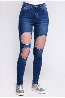Синие гламурные джинсы-скинни с дырками