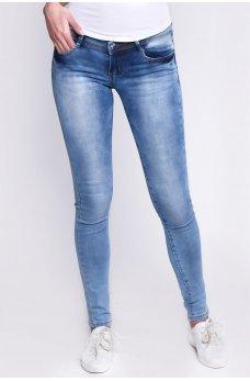 Голубые универсальные обтягивающие джинсы-скинни с потертостями
