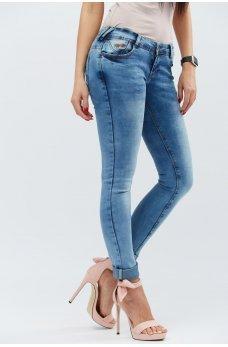 Голубые привлекательные джинсы-скинни с карманами
