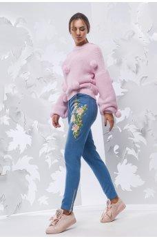 Голубые гламурные джинсы-скинни с нашивкой