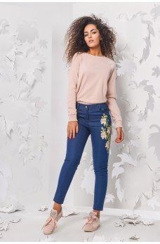 Темно-синие молодежные джинсы-скинни с нашивкой