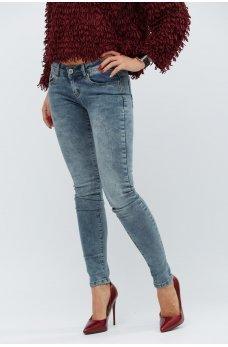Серые утонченные джинсы-скинни с карманами