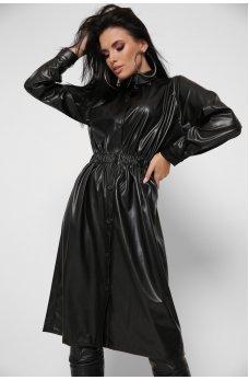 Черное стильное кожаное платье миди