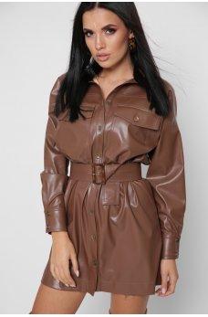 Коричневое кожаное короткое платье-рубашка