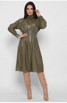 Оливковое гламурное платье миди