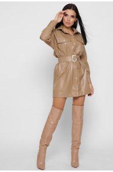 Бежевое кожаное платье мини