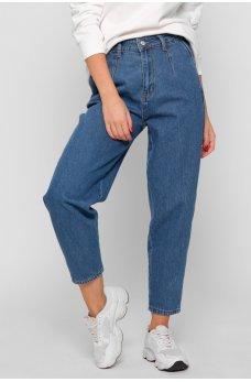 Синие оригинальные джинсовые брюки с карманами