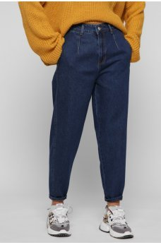 Темно-синие практичные укороченные джинсовые брюки